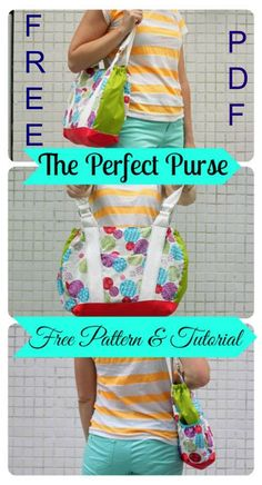 FREE downloadable pdf bag sewing pattern to make the Perfect Purse.