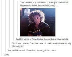 Honestly, I didn't realize Diagon Alley was diagonally until Harry said it in the movie.
