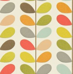 Love, love love. For my playroom! Multi Stem (110384) - Orla Kiely Wallpapers - The well known multi stem design of Orla Kiely's is here as a contemporary stylish wallpaper. Shown in multi-coloured on a off white background - more colours are available. Please request a sample for true colour match. Paste-the-wall product.
