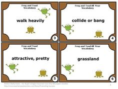 In appreciation for all you do, I am offering these Frog and Toad Vocabulary Task Cards FREE. There are 10 task cards, student response form, word bank, and answer key. Fun Classroom Activities, Vocabulary Activities, Vocabulary Words, Book Activities, Classroom Ideas, Stuff For Free, Common Core Reading, Frog And Toad, Literacy Centers