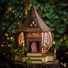 Pumpkin Cottage by Mary Rudakas tutorial and 3d Paper Projects, Polymer Clay Projects, Friendship Crafts, Fun Crafts, Paper Crafts, Fairy Silhouette, Rena, Digital Art Tutorial, Scrapbooking