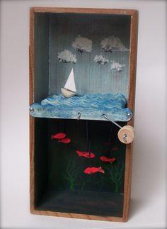 Die Kunst von Jason Edmiston – DIY diorama mason jars – – Keep up with the times. Shadow Box Kunst, Shadow Box Art, Art For Kids, Crafts For Kids, Arts And Crafts, Arte Assemblage, Paper Art, Paper Crafts, Toy Theatre