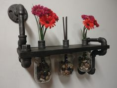 Black Pipe Shelf with 3 Mason Jar Vases the by Mobeedesigns