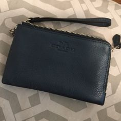 Coach Wristlet Blue metallic! Super cute Coach Bags Clutches & Wristlets