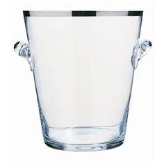 Exklusiv handgjord ishink i glas med silverkant.    Mått: H 24 cm