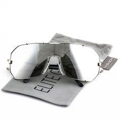 b1f20023e2 Elite Mens Womens Oversized Flat Top Shield Aviator Mirrored Lens Sunglasses  - Silver Frame   Silver Mirrored - C91822S40I4