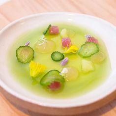 Summer 2015 tasting menu at Daniel Humm's restaurant #elevenmadisonpark in Manhattan New York.  Tuna marinated belly and loin with cucumber.  #thegluttoner by thegluttoner
