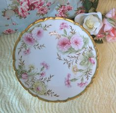 Gorgeous Porcelain Hand Painted Rose Plate