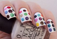 White with different colored dots