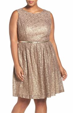 Main Image - Ellen Tracy Belted Metallic Lace Pleat Fit & Flare Dress (Plus Size)