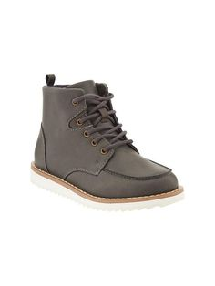 Boys Faux-Leather Laced Boots Product Image