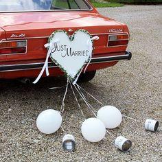 """Autoschmuck """"Herz mit Blechdosen"""" - romantische Autodeko für die Hochzeit mit Aufschrift """"Just Married"""" ..."""