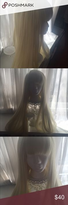 Gorgeous long barbie blonde costume wig w/bangs Never been worn! Accessories Hair Accessories