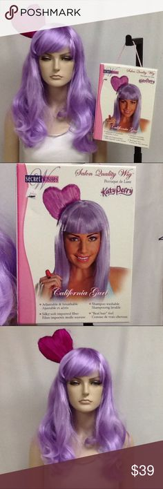 Purple Katy Perry Wig Removable heart headband on this purple Katy Perry Wig. Synthetic breathable and washable has adjustable elastic straps. used on mannequin only. Co Es with original box. Katy Perry Accessories Hair Accessories