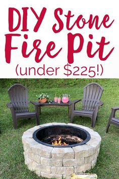 Step by step DIY Stone Fire Pit tutorial for under $225 #duraflame #ad