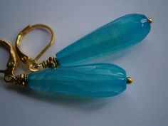 Ohrringe,Achat,petrol,gold von kunstpause auf DaWanda.com
