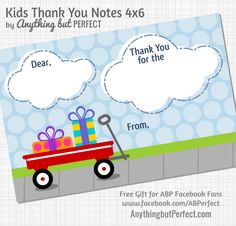 "Teach children to send a ""thank you "" note. these are great from Anything But Perfect!"