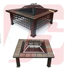 NEW OUTDOOR GARDEN FIREPIT STOVE FIRE PIT BRAZIER SQUARE TILE TABLE LOG PATIO | eBay