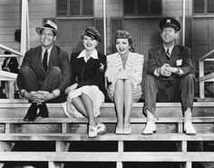 "Stars of ""The Palm Beach Story"" - Joel McCrea, Mary Astor, Claudette Colbert, Rudy Vallee"