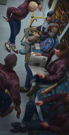 """Ticket Please"", Joel Kilpatrick, digital, 2015 : Art Character Concept, Character Art, Concept Art, Arte Horror, Horror Art, Apocalypse Art, Arte Cyberpunk, Arte Obscura, Creepy Art"