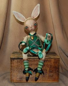Rabbit painted primitive dolls