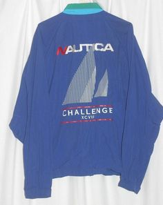 Vtg Nautica Challenge XCVII Sailing Yacht Jacket Full Zip Windbreaker Mens XL #Nautica #Windbreaker