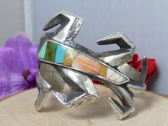 Navajo Sterling Silver & Multistone Inlay 'Cornstalk' Tufa Cast Cuff Bracelet!!  #SignedJoe