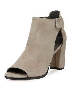 STUART WEITZMAN Open-Door Suede Sandal, Light Gray. #stuartweitzman #shoes #sandals