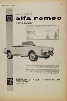 This is an original 1961 ad for Alfa Romeo sports cars with price reductions due to forward planned output at the Alfa Romeo plant at Arese. The prices are listed in British Pound Sterling. UK sole co
