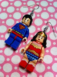 LEGO Superman & Wonder Woman Dangle Earrings. $40.00, via Etsy.