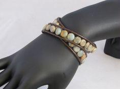 Handmade Leatherwrapped Green Sea Jasper Bead by socalledbrent, $28.00