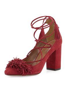 Wild Thing Fringe Block-Heel Pump, Pomegranate (Red), Women's, Size: 8B/38EU - Aquazzura