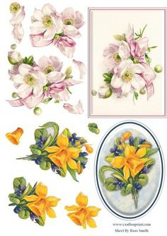 Daffodil Pink Flowers Duodecoupage on Craftsuprint designed by Russ Smith - Two toppers and sets of decoupage layers on one sheet! Includes vintage paintings of pink flowers and a bow and brightly coloured daffodils. - Now available for download!