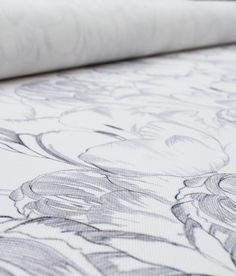 Our Belleflower design is inspired by the English Garden, is hand drawn using a combination of fine gray pencil marks on a fresh white ground.
