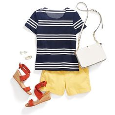 Coordinate in primary colors. For a no-fail way to wear multiple summer hues, opt for the classics like navy, red and canary yellow. #StylistTip