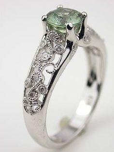 green sapphire, white gold.