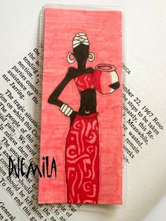 Handmade Bookmark Woman with vase. £4.00, via Etsy.