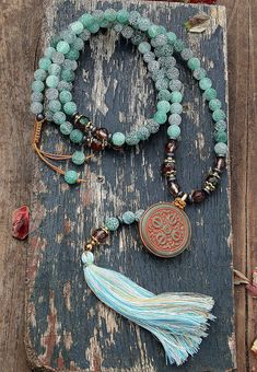 Beautiful frosted agate gemstone mala necklace - look4treasures on Etsy, $72.95