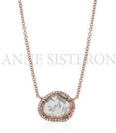 Anne Sisteron 14Kt Rose Gold Diamond Slice Necklace in Pink $1065