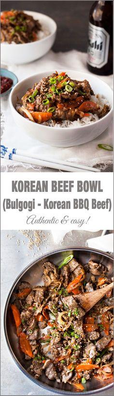 Beef Bowl (Bulgogi - Korean BBQ Beef) Korean Beef Bowl (Bulgogi) - Easy to make with ingredients from the supermarket.Korean Beef Bowl (Bulgogi) - Easy to make with ingredients from the supermarket. Korean Bbq Beef, Korean Beef Bowl, Korean Food, Asian Recipes, Beef Recipes, Cooking Recipes, Healthy Recipes, Ethnic Recipes, Recipetin Eats
