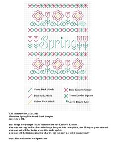 Miniature Spring Blackwork Band Sampler by Kell Smurthwaite of Kincavel Krosses
