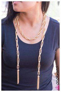 All Paparazzi Accessories just $5.00...SCARFed for Attention (Gold) - Blockbuster Necklace