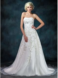 Classic and elegant, A-Line/Princess Strapless Chapel Train Organza Satin Wedding Dress With Embroidery Beading Sequins