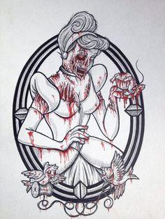 cinderella zombie tattoo flash...kind of cool.