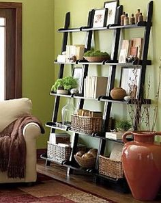 """JCPenney : 25.5"""" Wide Leaning Bookshelf >>love this look, just can't think of where to put it. i'm thinking in the loft cutout instead of a traditional bookcase (eventually!)"""