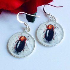 Beetle earrings Bug earrings Glass Dome dangle by ThomiGirlPink