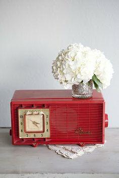 vintage red clock