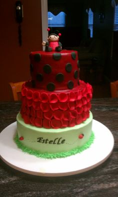 Cars cake happy birthday james dorries cakes pinterest car cakes ladybug cake for estelle s first birthday thecheapjerseys Images