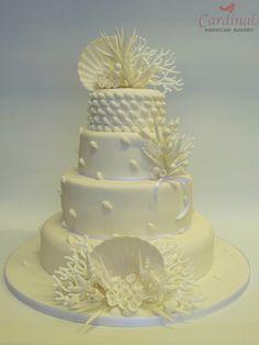 White Coral Wedding Cake