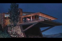 A matte painting of the Van Damm house as it appeared atop Mount Rushmore in NORTH BY NORTHWEST It was inspired by the later residential design features of architect Frank Lloyd Wright. Architecture Design Concept, Beautiful Architecture, Interior Architecture, Building Architecture, North By Northwest, Frank Lloyd Wright Homes, Cliff House, Mid Century House, Mid-century Modern